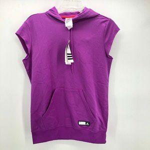 Adidas Womens Hoodie Pink Cap Sleeves Pullover S